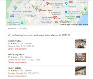 resultados local pack zapaterias barcelona