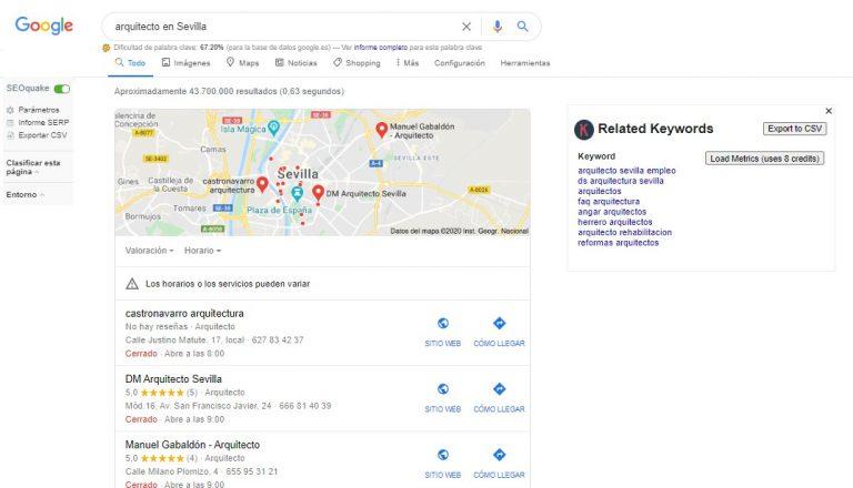 búsqueda arquitecto en Sevilla