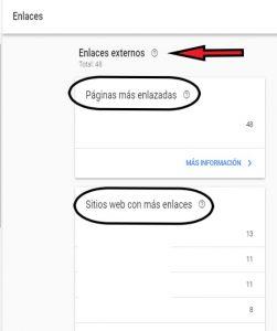 enlaces externos search console